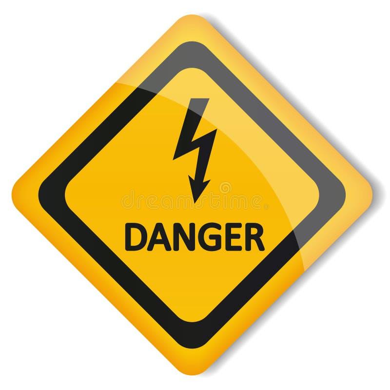 Wektorowy ilustracyjny etykietki elektryczności zagrożenie royalty ilustracja