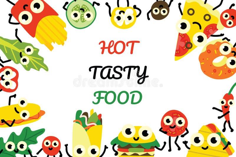 Wektorowy ilustracyjny fasta food sztandar z granicy ramą różnorodni posiłki i warzywo postacie z kreskówki royalty ilustracja