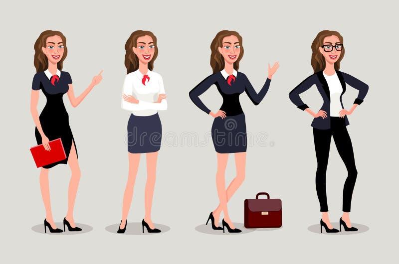 Wektorowy ilustracyjny isolatede Elegancka ładna biznesowa kobieta w formalnym odziewa Podstawowa garderoba, kobiecy korporacyjny royalty ilustracja