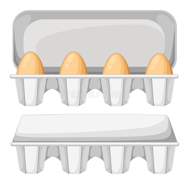 Wektorowy ilustracyjny jajeczny pudełko z brown świeżymi kurczaków jajkami Jajeczny zbiornik otwarty i zamyka pojedynczy białe tł ilustracja wektor