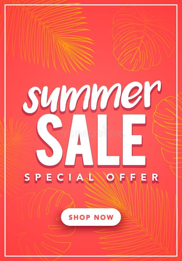 Wektorowy ilustracyjny Kolorowy lato sprzedaży sztandaru szablon Z Tropikalnym palma liści wzorem royalty ilustracja