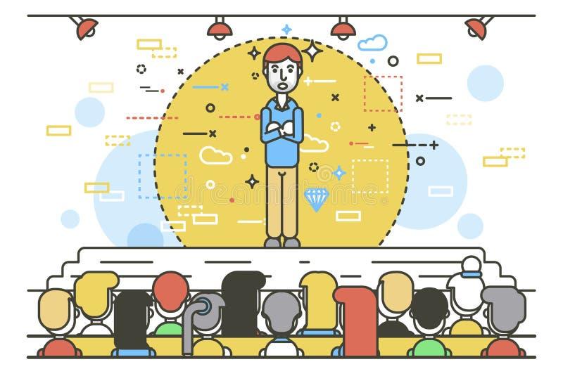 Wektorowy ilustracyjny krasomówca rzecznika rzecznika mówca krzyżujący zbroi biznesmena retoru polityka mowy mówienie ilustracja wektor