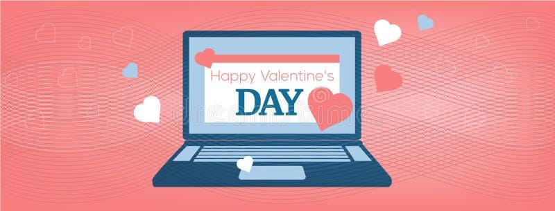 Wektorowy ilustracyjny laptop z Szczęśliwą walentynka dnia kartą na koralowym tle, pokrywa miejsce ilustracja wektor