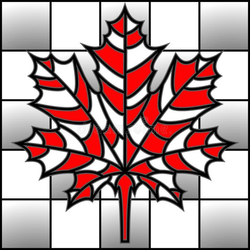 Wektorowy ilustracyjny liść klonowy na szachowej desce w mozaika stylu ilustracji