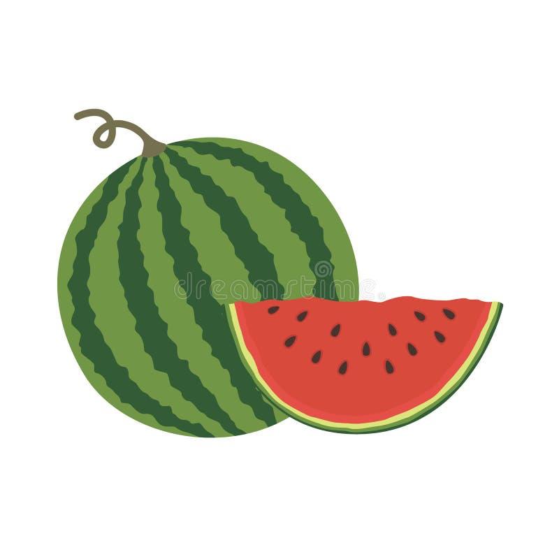 Wektorowy ilustracyjny logo dla całego dojrzałego czerwonego owocowego arbuza, zielony trzon, rżnięta połówka, pokrajać plasterek ilustracji