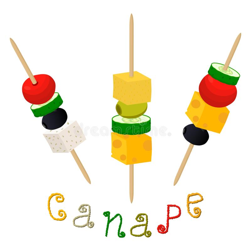Wektorowy ilustracyjny logo dla dojrzałych kolorowych canapes z jagodowymi oliwkami ilustracji