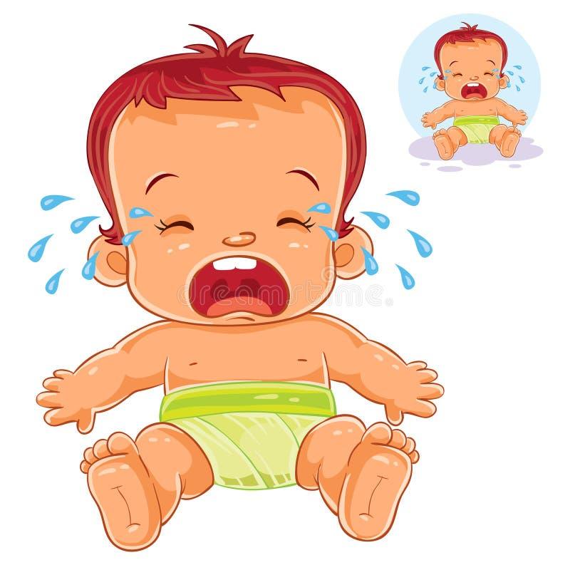 Wektorowy ilustracyjny mały dziecko w pieluszka płaczach royalty ilustracja