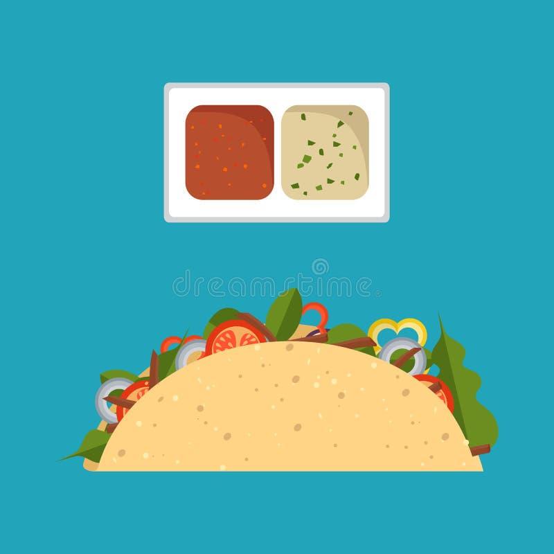 Wektorowy Ilustracyjny mieszkanie styl Taco meksykański jedzenie odizolowywający royalty ilustracja