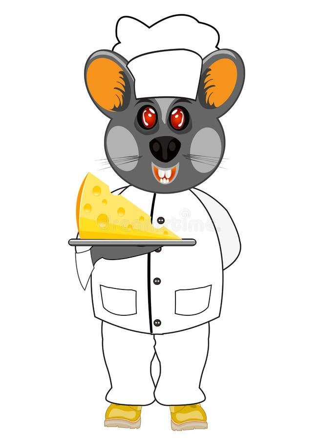 Wektorowy ilustracyjny mysz kucharz z serem na białym tle royalty ilustracja