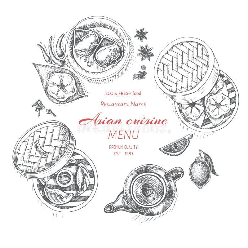 Wektorowy ilustracyjny nakreślenie - azjatykci jedzenie Karcianego menu Ciemnawy Koreański jedzenie rocznika projekta szablon, sz ilustracja wektor