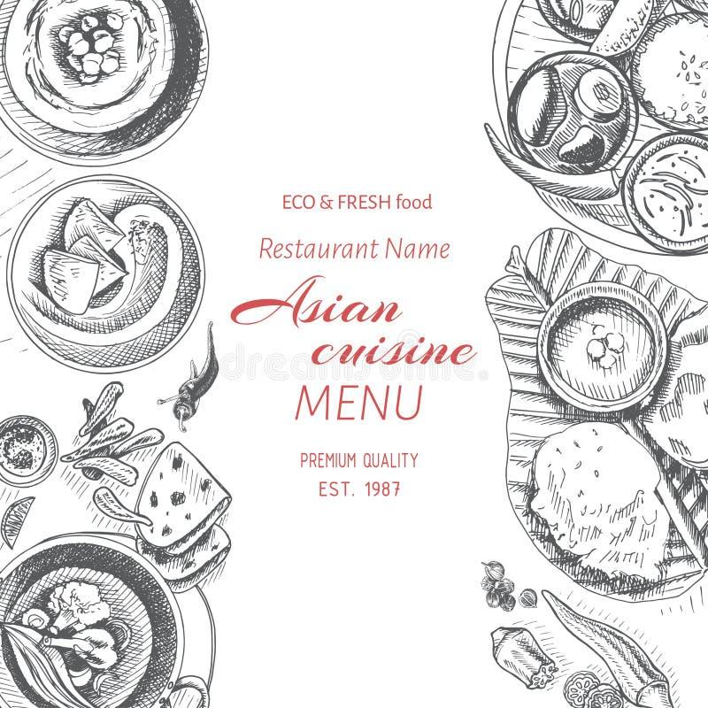 Wektorowy ilustracyjny nakreślenie - azjatykci jedzenie Karciany menu hindus rocznika projekta szablon, sztandar ilustracji