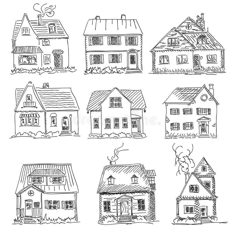 Wektorowy ilustracyjny nakreślenie domy royalty ilustracja
