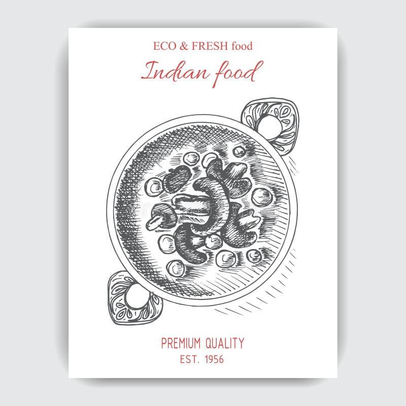 Wektorowy ilustracyjny nakreślenie - indyjski jedzenie royalty ilustracja