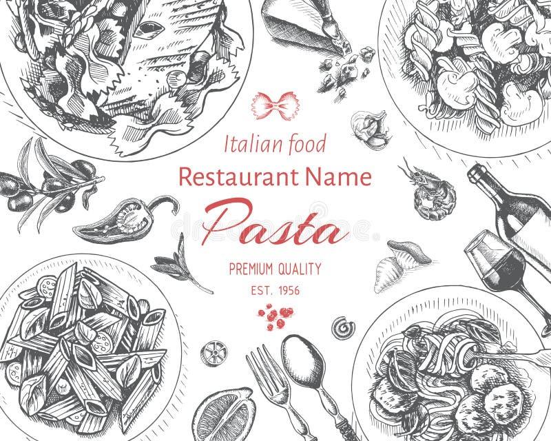 Wektorowy ilustracyjny nakreślenie - makaron Karciany menu włoch resraurant ilustracji