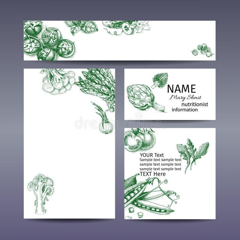 Wektorowy ilustracyjny nakreślenie pomidor, basil, ogórek, kardamon, kapusta, brokuły, kalafior, asparagus, karczoch, cebula, aru royalty ilustracja