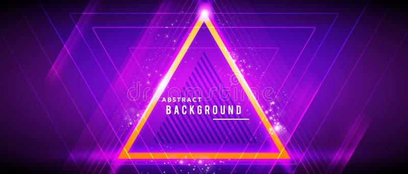 Wektorowy ilustracyjny neonowy rozjarzony techno wykłada, techniki tła futurystyczny abstrakcjonistyczny szablon z trójboków kszt ilustracji