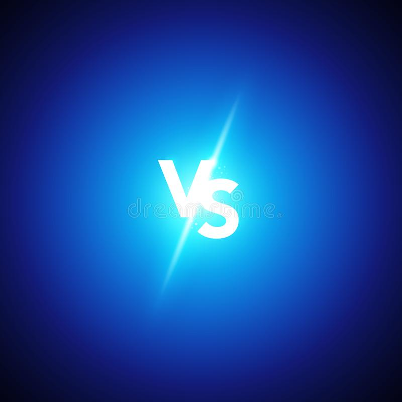 Wektorowy ilustracyjny neonowy versus logo vs listy dla sportów i walki rywalizaci Batalistyczny dopasowanie, gemowy pojęcie konk ilustracji