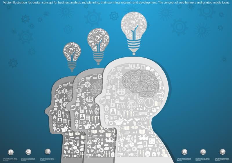 Wektorowy ilustracyjny płaski projekta pojęcie dla biznesowej analizy i planowania, brainstorming, badanie i rozwój Pojęcie o ilustracji
