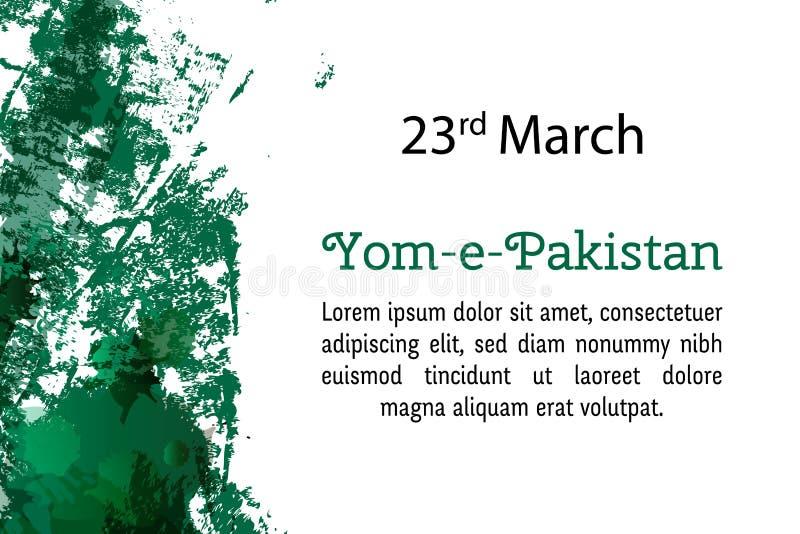 Wektorowy ilustracyjny Pakistan święto państwowe, Przekładowe Pakistan inskrypcje: Pakistan dzień 23 projekta Marcowy szablon dla ilustracji