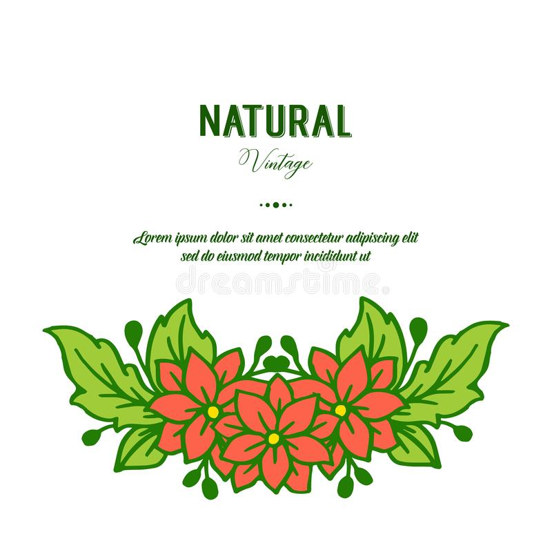 Wektorowy ilustracyjny pi?kno zielone obfitolistne kwiat ramy kwitnie dla kartka z pozdrowieniami naturalnego rocznika ilustracji