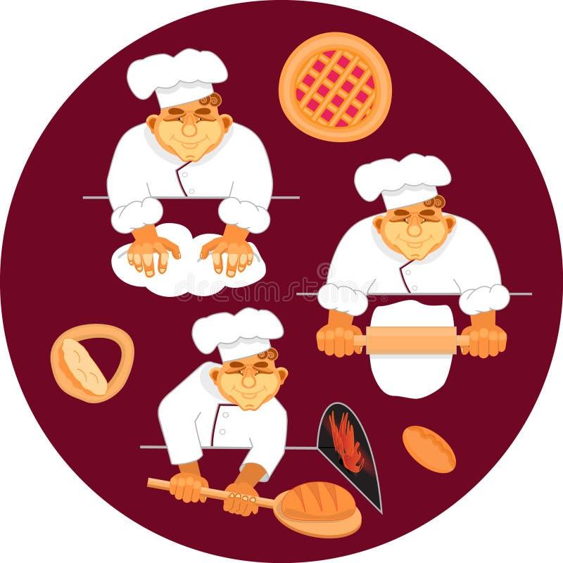 Wektorowy ilustracyjny piekarz robi chlebowi royalty ilustracja