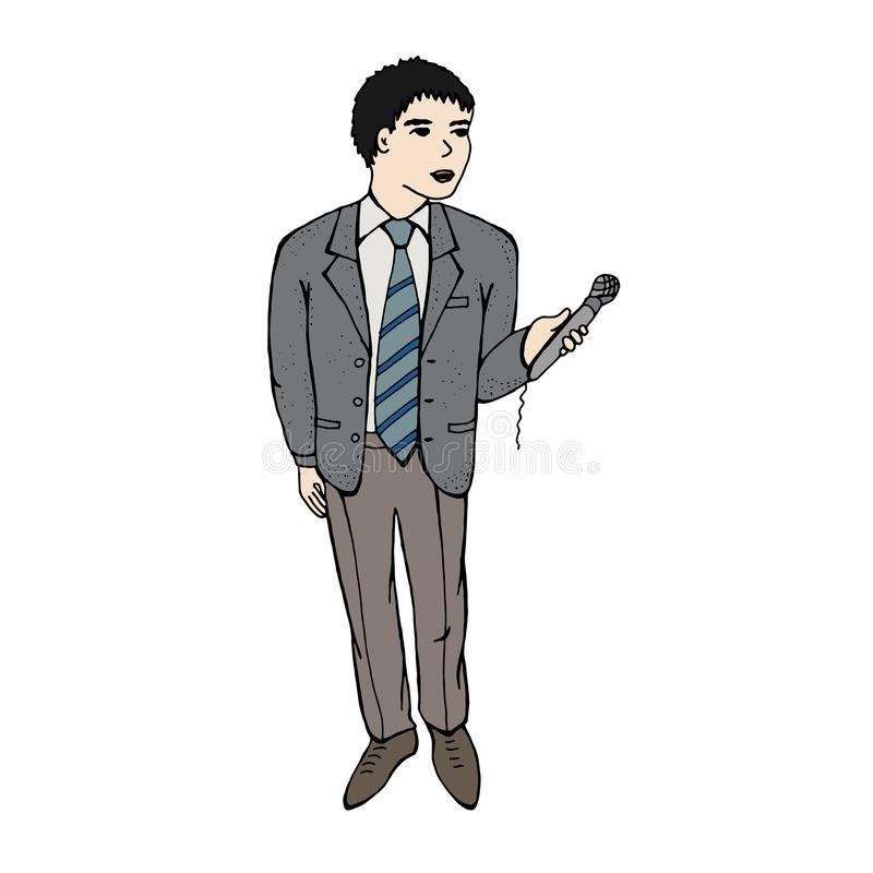 Wektorowy ilustracyjny podawca, dziennikarzów wywiada Odosobniony wizerunek na białym tle ilustracja wektor