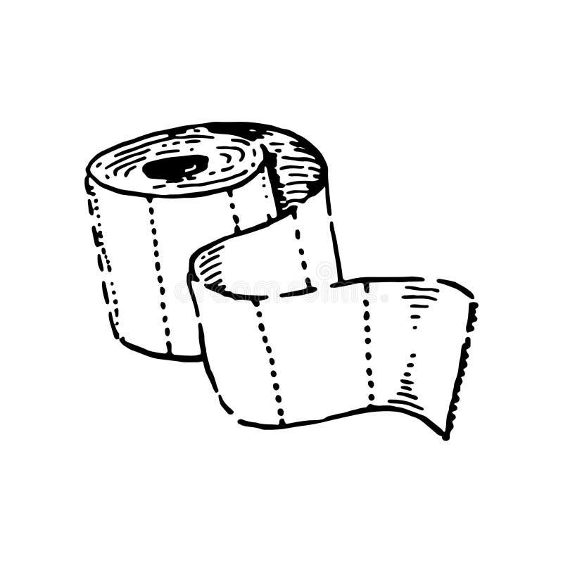 Wektorowy ilustracyjny pojęcie papier toaletowy ręka tonie ilustrację na białym tle ilustracja wektor