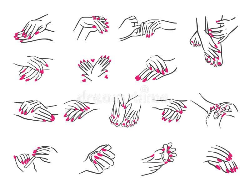 Wektorowy ilustracyjny pojęcie ręki z manicure ikoną Czerń na białym tle ilustracji