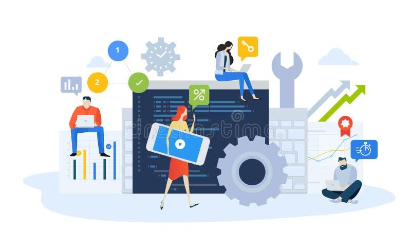 Wektorowy ilustracyjny pojęcie mobilny projekt i rozwój miejsca i app, optymalizacja, aktualizuje ilustracja wektor