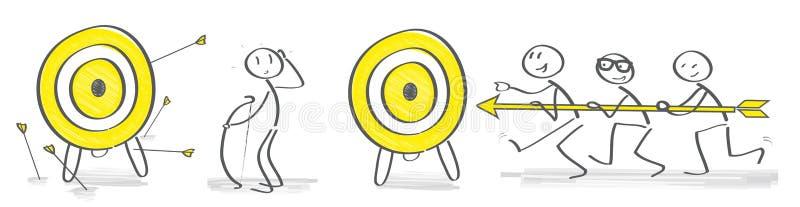 Wektorowy ilustracyjny pojęcie przeciwieństwa - praca zespołowa vs osamotniony ilustracji