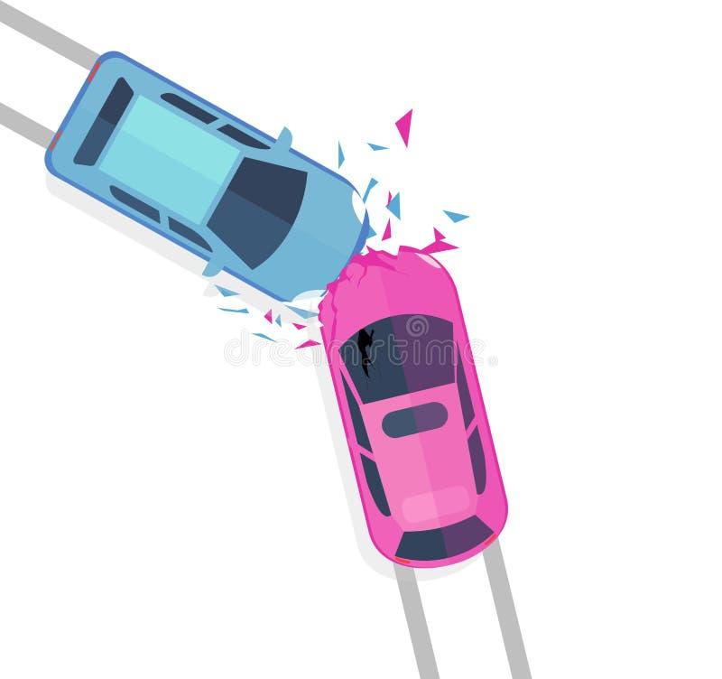 Wektorowy ilustracyjny pojęcie wypadek samochodowy Odgórny widok dwa samochodów trzask odizolowywający na białej tła ib mieszkani royalty ilustracja