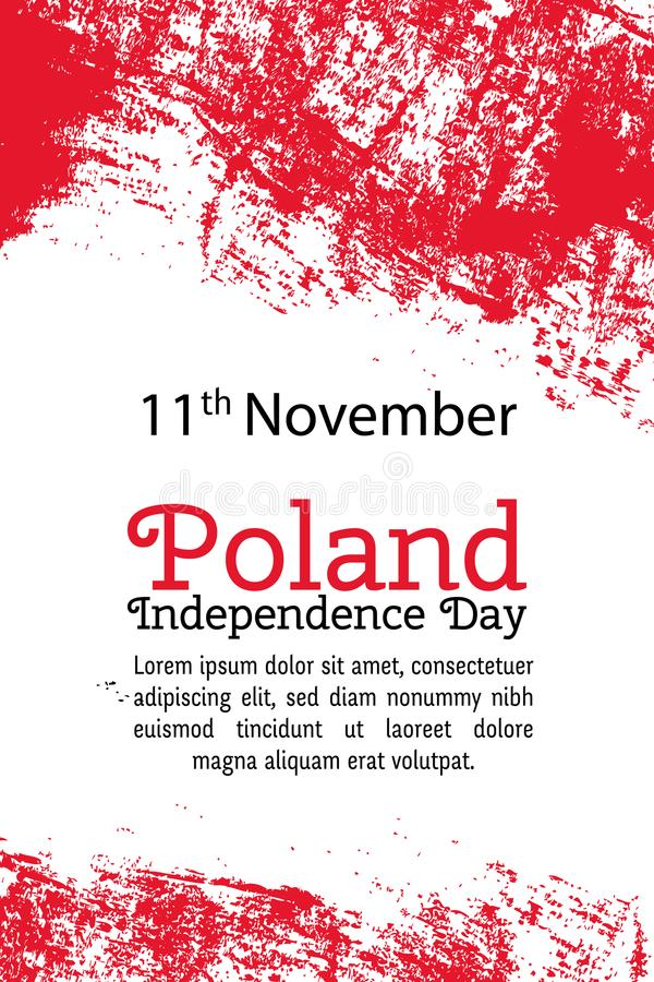 Wektorowy ilustracyjny Polska dzień niepodległości, połysk flaga w modnym grunge stylu 11 Listopadu projekta szablon dla plakata royalty ilustracja