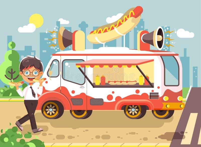 Wektorowy ilustracyjny postać z kreskówki dziecko, uczeń, osamotniony brunetki chłopiec uczeń je fast food, kanapki, hot dog ilustracja wektor
