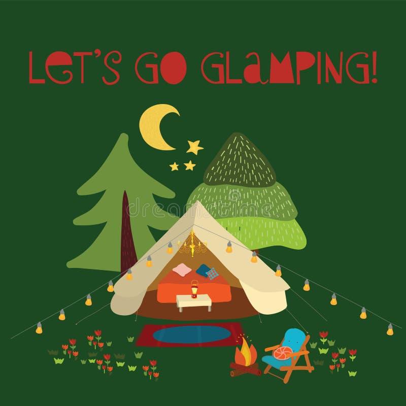 Wektorowy ilustracyjny Pozwalać iść glamping - lato campingowa scena Boho teepee namiot Obozowa nocy scena z ogniskiem, krzesła,  ilustracja wektor