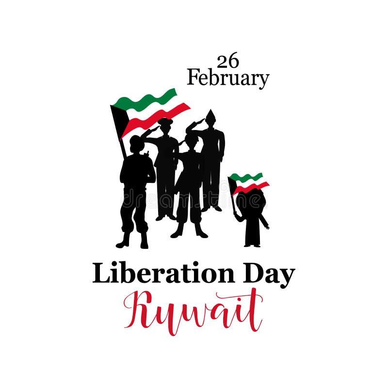 Wektorowy Ilustracyjny projekta szablon Luty 26 - dzień wyzwolenie Kuwejt ilustracji