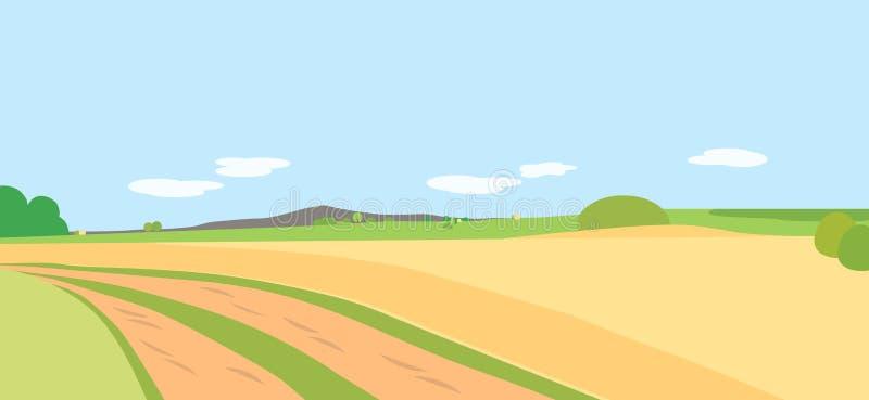 Wektorowy ilustracyjny rolniczy krajobraz z polami i meado ilustracja wektor