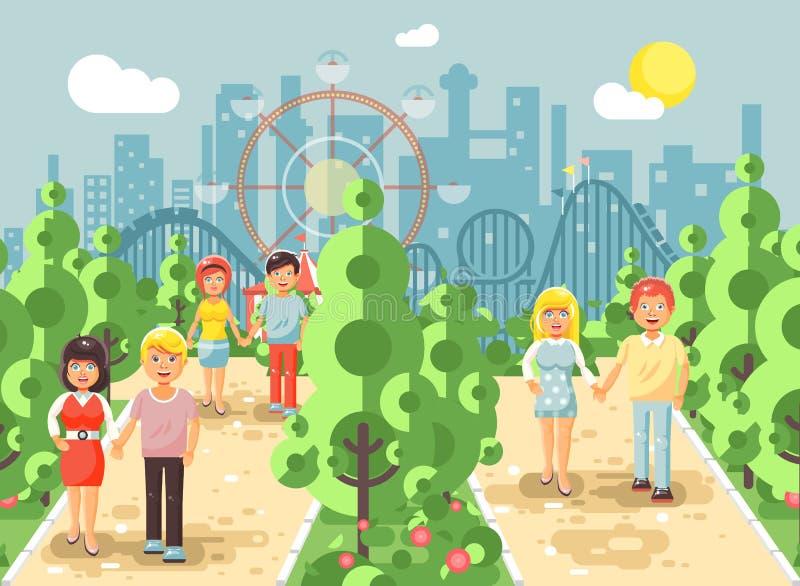 Wektorowy ilustracyjny spaceru przespacerowania deptak dobiera się, mężczyzna i kobiety na dacie, kochankowie, St walentynki s dz ilustracji
