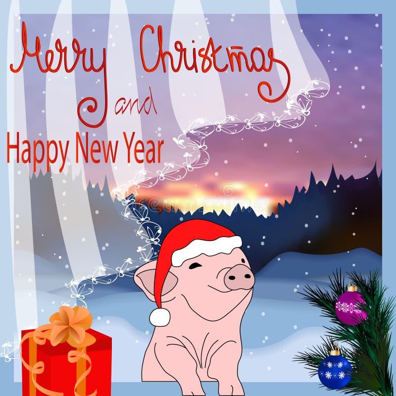 Wektorowy ilustracyjny szczęśliwy nowy rok! Kartka bożonarodzeniowa Świnia jest symbolem Chiński Nowy 2019 Dla pocztówek, sprzeda ilustracja wektor