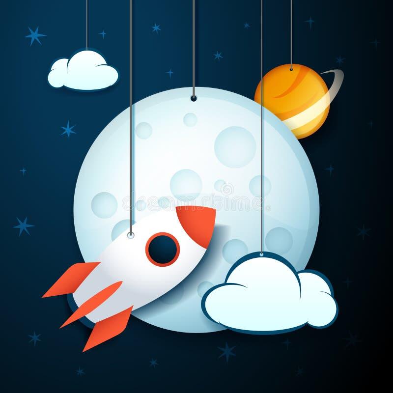 Wektorowy ilustracyjny sztandar wisząca księżyc, rakieta, planeta i chmury, ilustracja wektor