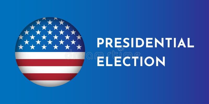 Wektorowy ilustracyjny sztandar z round kształta flagą amerykańską Wybór prezydenci w usa ilustracja wektor