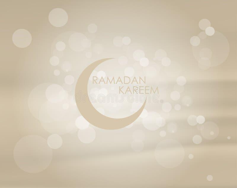 Wektorowy ilustracyjny tło, zaproszenie dla muzułmańskiej społeczności świętego miesiąca Ramadan Kareem z bokeh ilustracja wektor