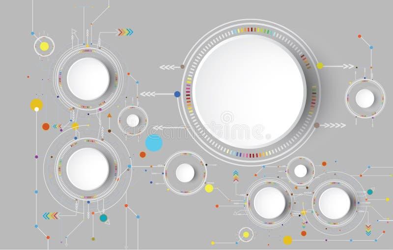 Wektorowy ilustracyjny techniki technologii cyfrowej projekt kolorowy na obwód desce royalty ilustracja