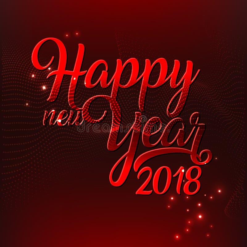 Wektorowy ilustracyjny tekst szczęśliwy 2018 nowego roku czerwoni kolory ilustracja wektor
