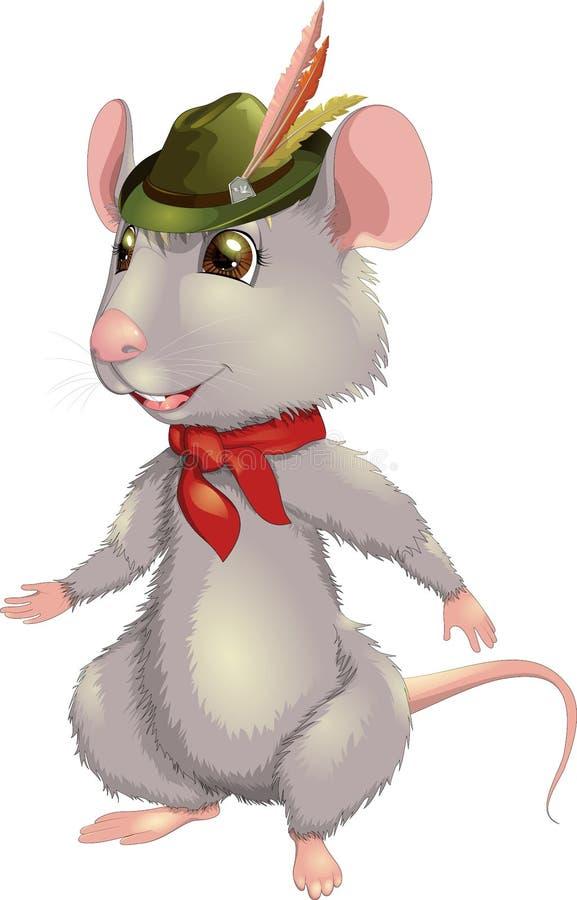 Wektorowy ilustracyjny uśmiechnięty szczur z kapeluszem ilustracja wektor