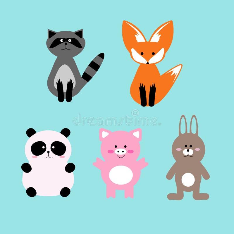Wektorowy ilustracyjny ustawiający śliczni i śmieszni kreskówki zwierzęcia domowego charaktery ilustracja wektor