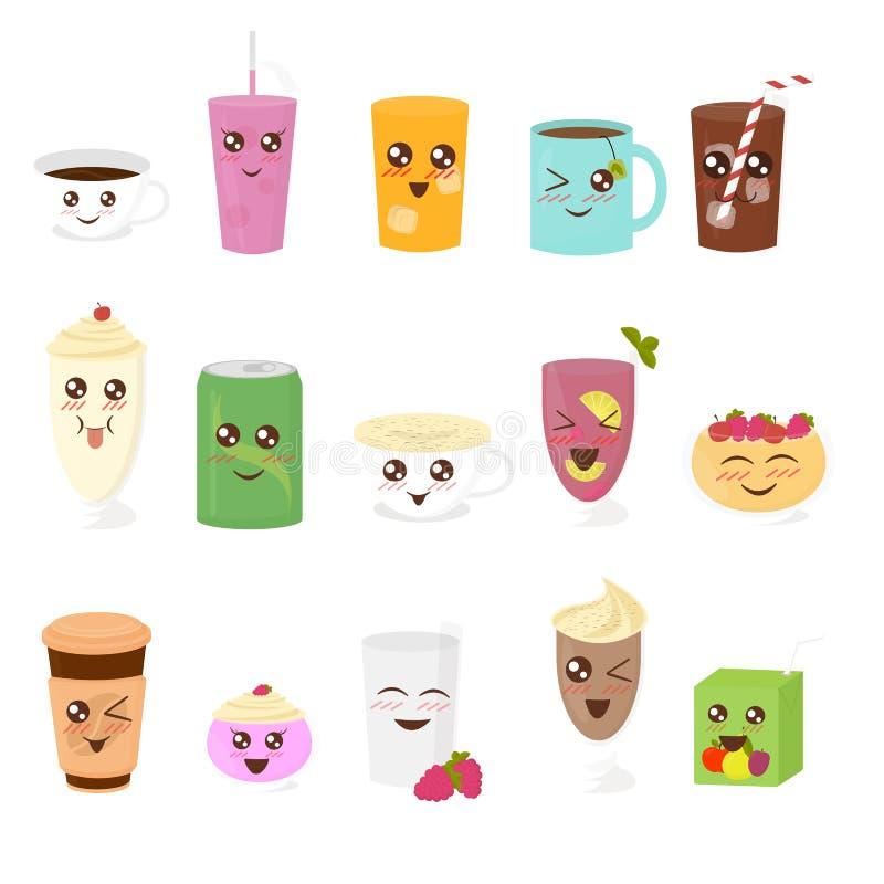 Wektorowy ilustracyjny ustawiający śliczni napoje w płaskim kreskówka stylu Filiżanka herbata, gorąca czekolada, latte, kawa, smo royalty ilustracja