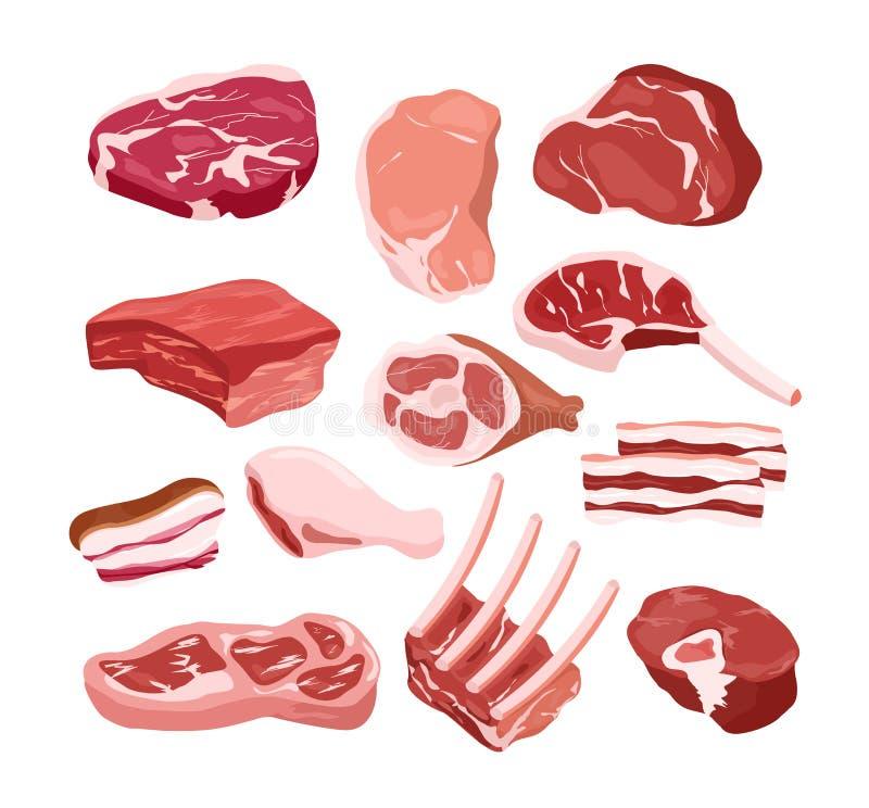 Wektorowy ilustracyjny ustawiający świeże smakowite mięsne ikony w mieszkanie stylu, odosobneni przedmioty na białym tle gastrono ilustracji