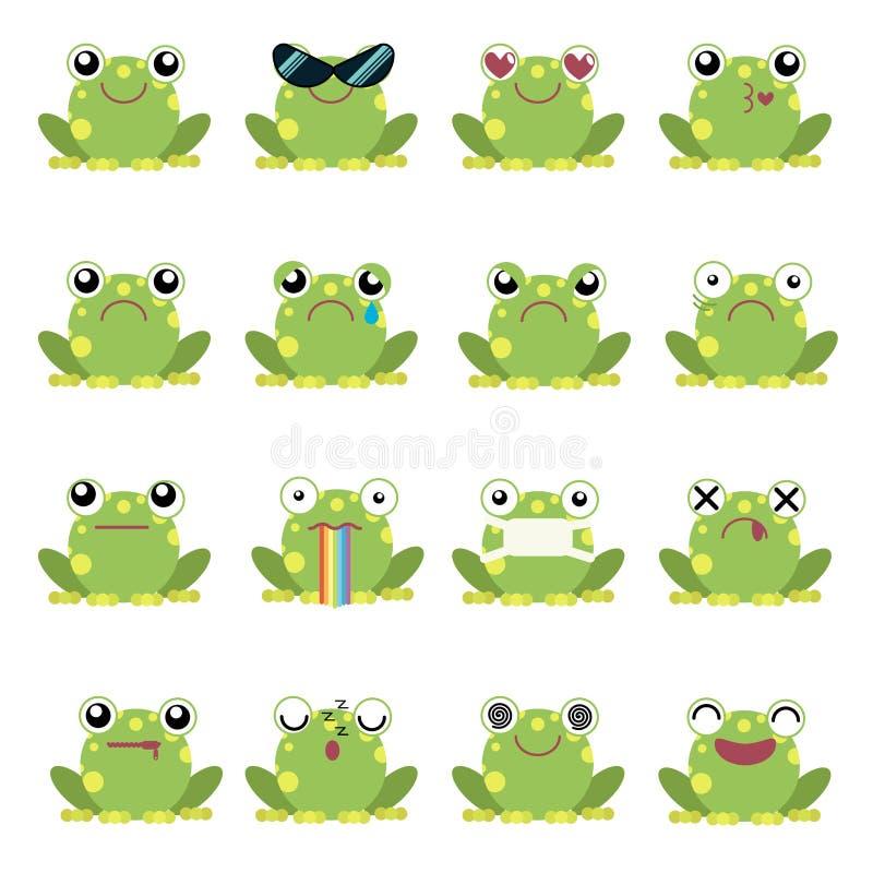 Wektorowy ilustracyjny ustawiający żab emoticons royalty ilustracja