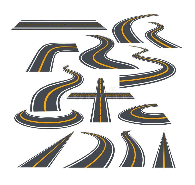 Wektorowy ilustracyjny ustawiający chylenie drogi odizolowywający na białym tle autostrady i ilustracja wektor