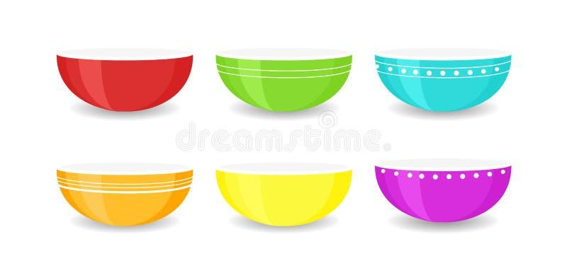 Wektorowy ilustracyjny ustawiający colourful opróżnia puchary odizolowywających na białym tle Porcelana ceramiczni talerze, barwi ilustracja wektor